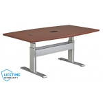 "NewHeights� Elegante XT Boat Shaped Adjustable Conference Table - 24"" to 51"" Adjustment Range - 325 lbs Capacity  **Made in the USA**"