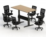 NewHeights� Rectangle Push Button Sit or Stand Adjustable Conference Table