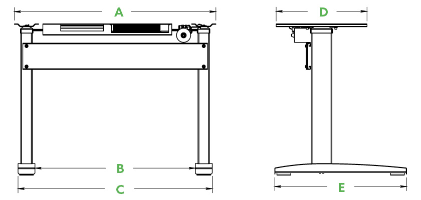 VertDesk Dimensions Model