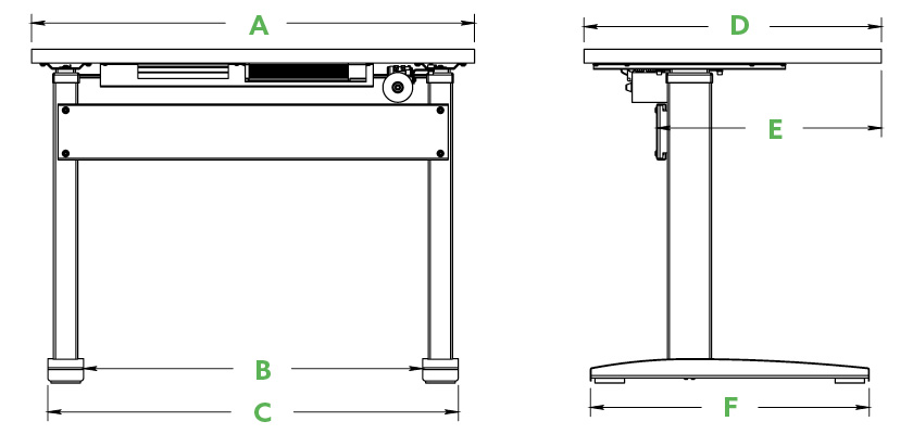 VertDesk Dimensions Model